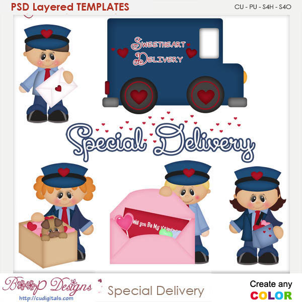 Special Love Delivery Postman Layered Element Templates